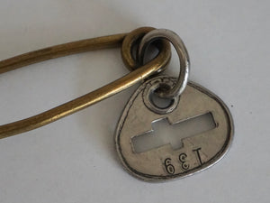 Vintage Brass Industrial Laundry Bag Pin With Metal Tag Number 139