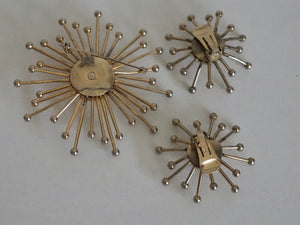 Vintage Mid Century Modern Sputnik Design Earring & Brooch Set By Volupte 1950s 1960s