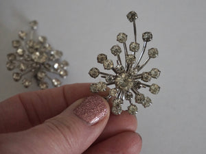 Vintage Mid Century Modern Rhinestone Sputnik Design Earrings 1950s 1960s