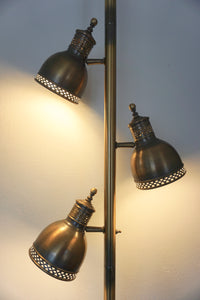 Vintage Bohemian Antiqued Brass Tension Pole Lamp With 3 Adjustable Lights