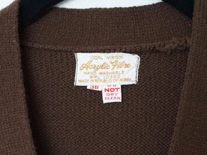 Vintage Belted '70s  Mod Long Sweater Vest In Chocolate Brown