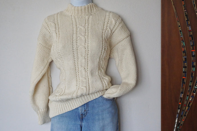 Vintage Hand Knit Fisherman's Sweater In Ivory Cable Knit