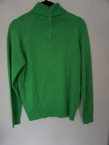 Vintage 60's-70's Zip Back Lightweight Sweater In Bright Spring Green