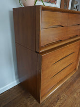 Load image into Gallery viewer, Vintage Mid Century Modern Kent Coffey Walnut 5 Drawer Dresser Chest