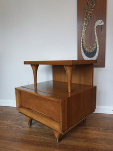 Vintage Mid Century Modern Kent Coffey Walnut Night Stand With Drawer