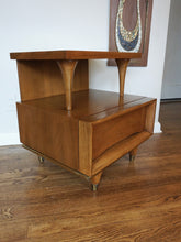Load image into Gallery viewer, Vintage Mid Century Modern Kent Coffey Walnut Night Stand With Drawer