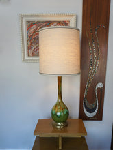Load image into Gallery viewer, Vintage Mid Century Modern Green Ceramic Swirl Glaze Lamp With Linen Shade