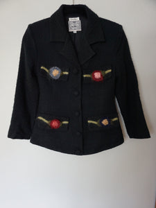 "Vintage Neiman Marcus ""Monkey Wear"" Black Wool Jacket"
