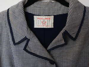 Vintage Mid Century Peck & Peck Navy Houndstooth Jacket c1960s