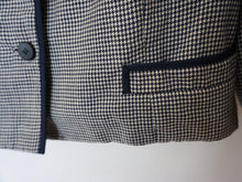 Load image into Gallery viewer, Vintage Mid Century Peck & Peck Navy Houndstooth Jacket c1960s