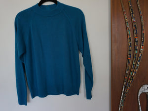 Vintage Peacock Blue 80s Zip Back Sweater By Hampshire Studio