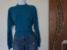 Load image into Gallery viewer, Vintage Peacock Blue 80s Zip Back Sweater By Hampshire Studio
