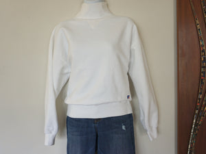 Vintage 80s-90s Russell Athletic Mock Turtleneck Sweatshirt In Bright White