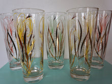 Load image into Gallery viewer, Vintage Mid Century Modern Pastel & Gold Bar Glass Set Of Tumblers c1950s
