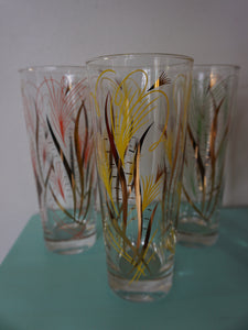 Vintage Mid Century Modern Pastel & Gold Bar Glass Set Of Tumblers c1950s
