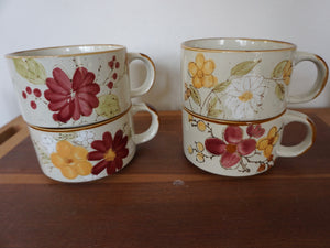 Vintage Bohemian Latte Soup Bowl Mug Set With Hand Painted Designs