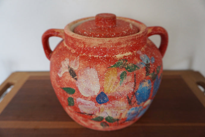 Vintage Bohemian Hand Painted Red Floral Lidded Pottery Jar Jug With Handles