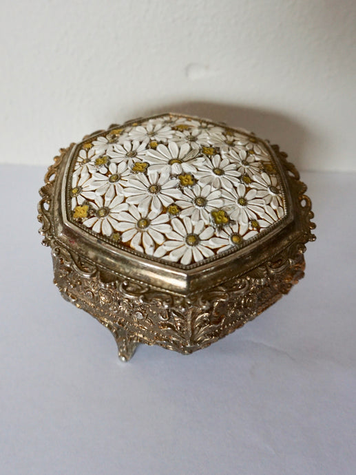 Vintage 1970s Jewelry Trinket Box With Daisies Velvet Lining Bohemian From Japan