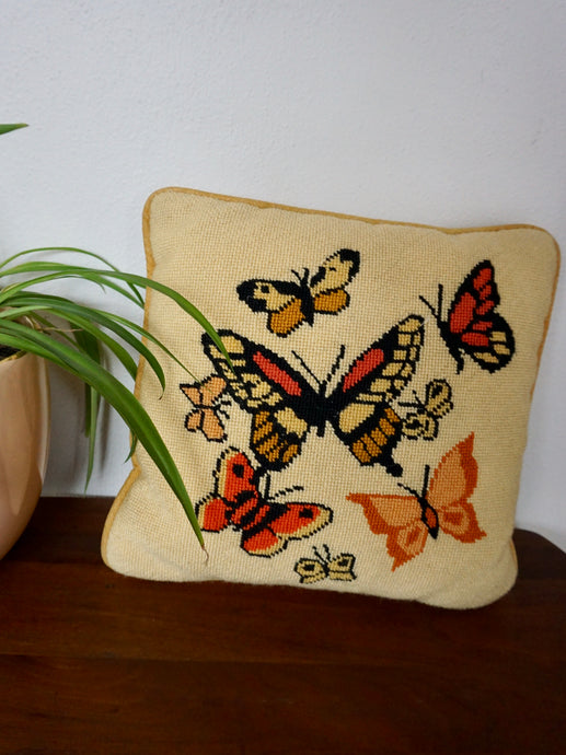 Vintage Butterfly Needlepoint Velvet Backed Pillow 1970s Bohemian
