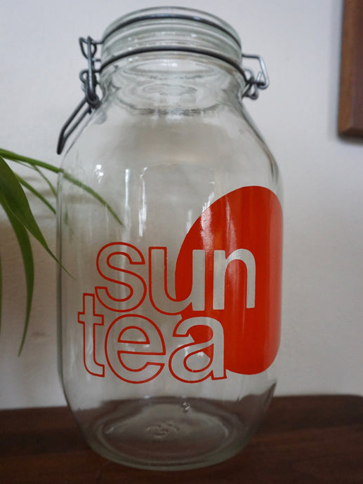 Vintage 1970s Design Large Glass Sun Tea Lidded Jar With Sun Design 3L