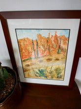 Load image into Gallery viewer, Vintage Original Watercolor Of Dessert Landscape Framed