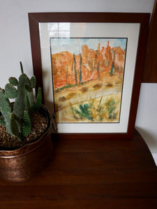 Vintage Original Watercolor Of Dessert Landscape Framed
