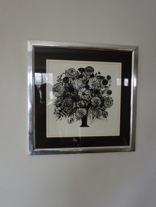 Vintage Modern Monochrome Black Floral Print In Chrome Frame