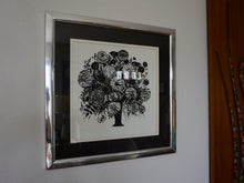 Load image into Gallery viewer, Vintage Modern Monochrome Black Floral Print In Chrome Frame