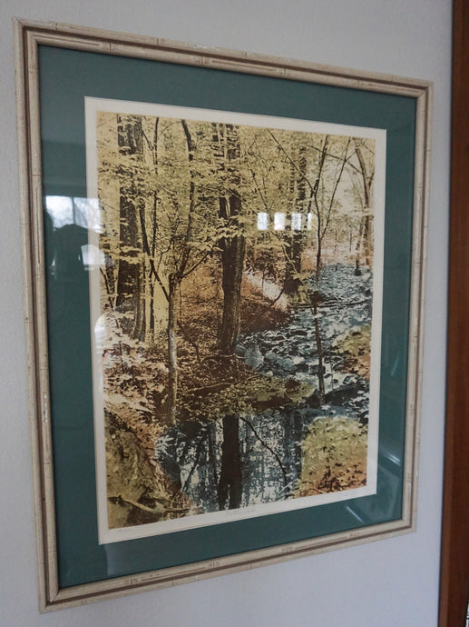 Vintage Framed Landscape In Multicolor Sepia Style Of Butler Creek In MO