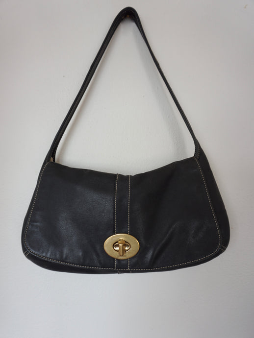 Vintage Coach Black Leather Shoulder Bag With Brass Clasp