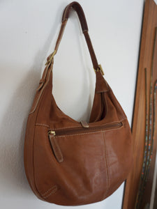 Vintage Stone Mountain Leather Shoulder Bag In Light Brown