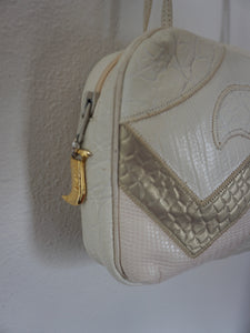 Vintage 80's Sharif Leather Disco Bag With Crossover Straps