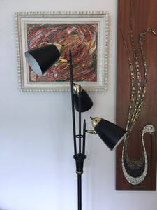 Vintage Mid Century Modern 3 Light Floor Lamp In Black And Brass