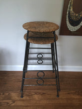 Load image into Gallery viewer, Vintage Mid Century Modern Arthur Umanoff Style Bohemian Bar Stools With Iron Legs