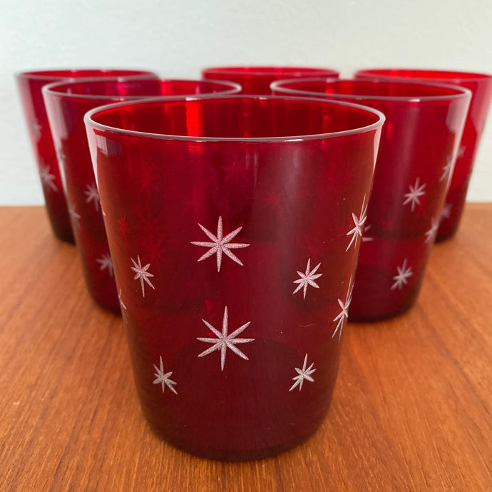 Vintage MidCentury Modern Atomic Red Starburst Cocktail Glass Set