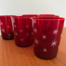 Load image into Gallery viewer, Vintage MidCentury Modern Atomic Red Starburst Cocktail Glass Set