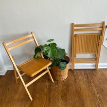 Load image into Gallery viewer, Vintage Pair Of Folding Wood Slat Chairs In Light Finish