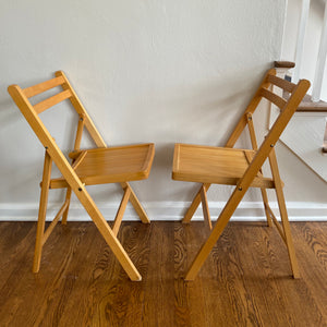 Vintage Pair Of Folding Wood Slat Chairs In Light Finish