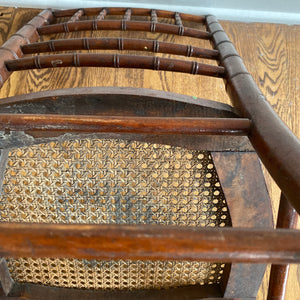 Vintage Antique Solid Walnut Petite Boho Chair With Cane Seat