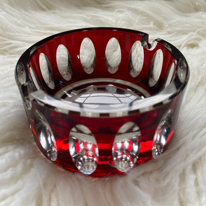 Vintage Midcentury Modern Ruby Cut Glass Ashtray c1960s
