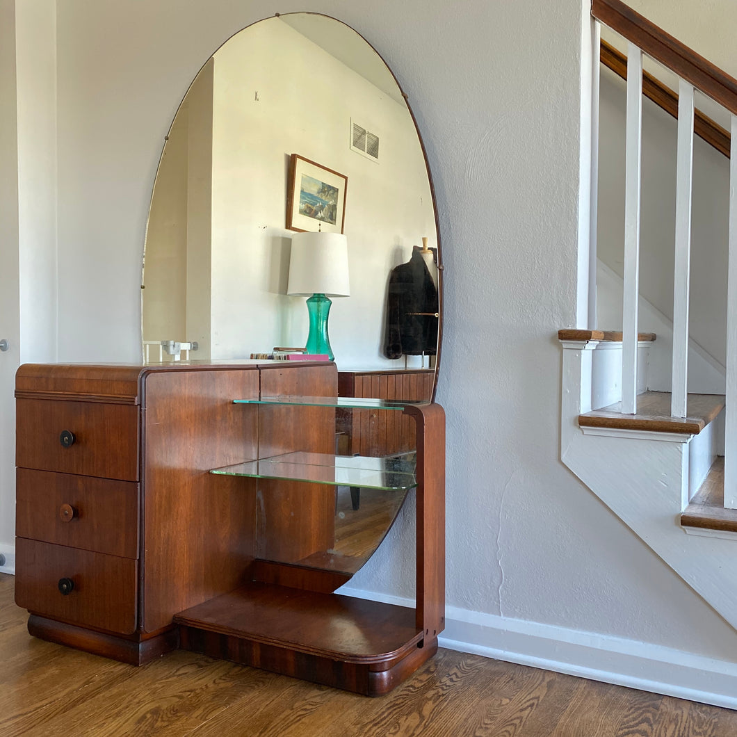 Vintage Deco Vanity Dresser With Full Length Mirror