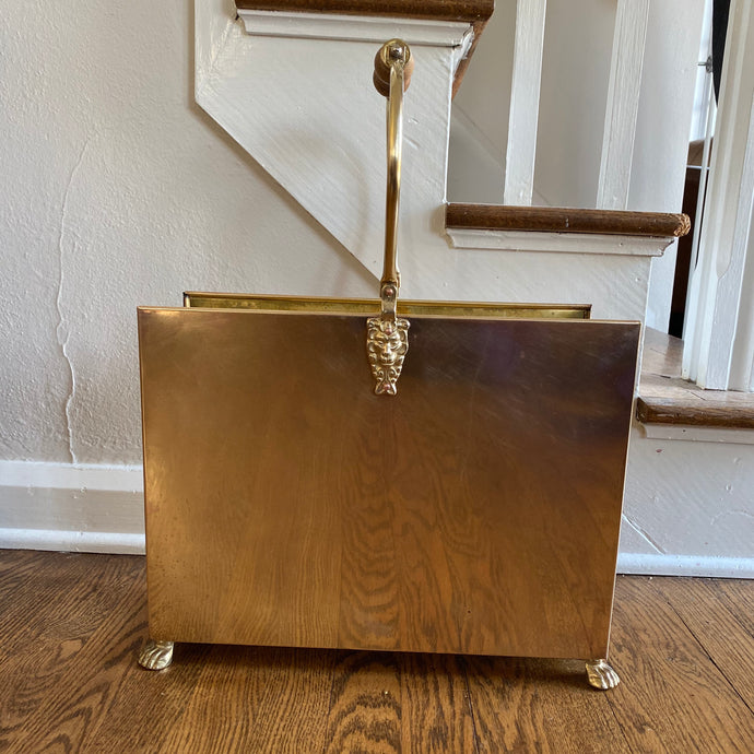 Vintage Brass Caddy With Lion's Head Details c1970s