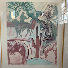 "Load image into Gallery viewer, Vintage Framed Desert Boho Monoprint By Richard Hall Titled ""Desert Bloom #6"""