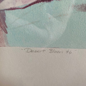 "Vintage Framed Desert Boho Monoprint By Richard Hall Titled ""Desert Bloom #6"""