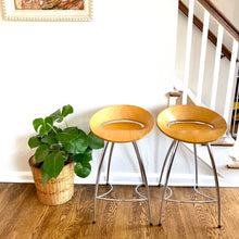 Load image into Gallery viewer, Vintage Modern Birch & Chrome Lyra Style Stools