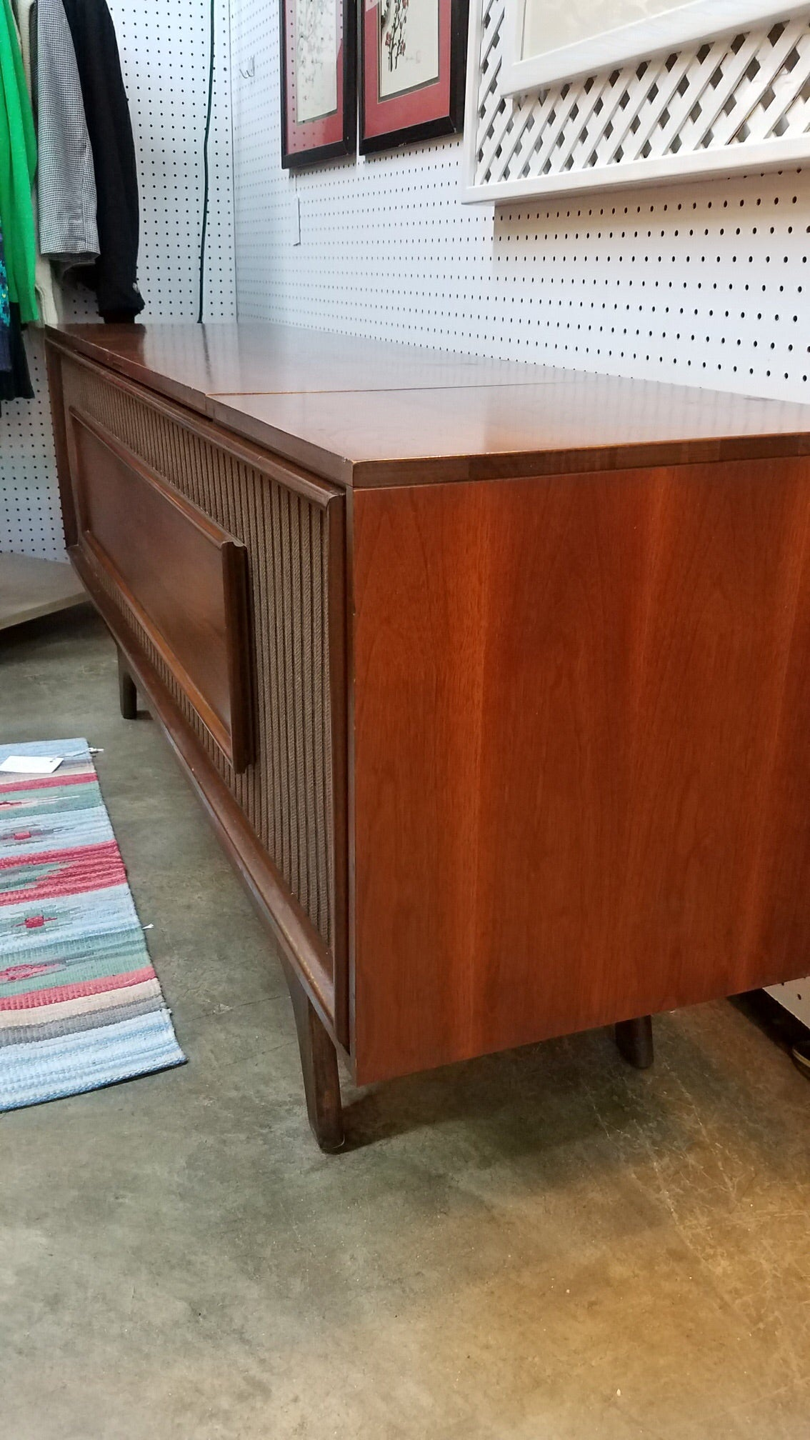 Vintage Mid Century Modern GE Console Stereo Record Player With