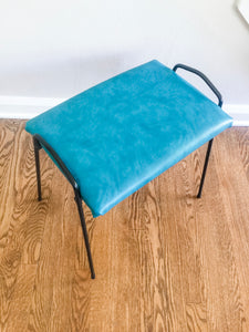 Vintage MidCentury Modern Metal Framed Stool With New Old Stock Upholstery