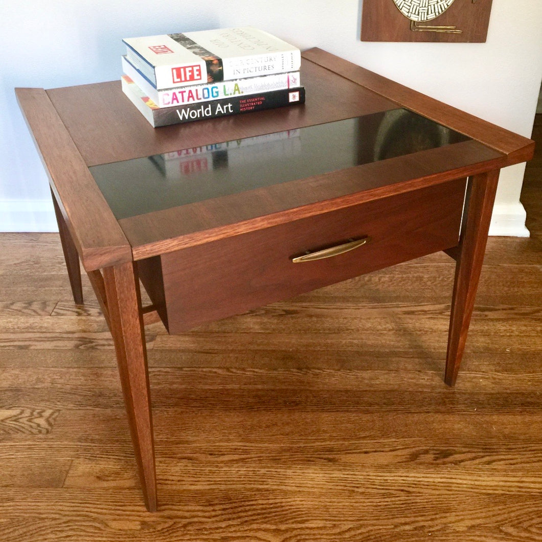 Vintage MidCentury Modern Side Table With Floating Drawer