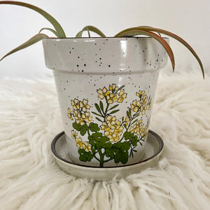 Vintage 70s Boho Planter With Yellow Flowers
