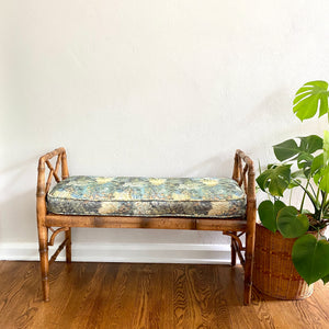 Vintage Boho 70s Cane Bench With Cushion
